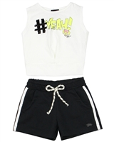 Gloss Girls Tank Top and Terry Shorts Set in White/Black