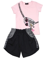 Gloss Girls T-shirt with Printed Purse and Terry Shorts Set in Pink/Black