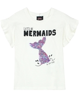 Gloss Girls T-shirt with Sequin Mermaid in White