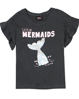 Gloss Girls T-shirt with Sequin Mermaid in Charcoal