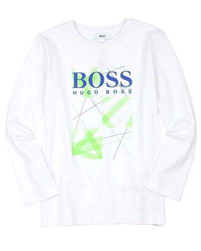 BOSS Boys Basic White T-shirt with Logo Print