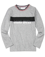 BOSS Boys T-shirt with Striped Crew Neck