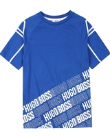 BOSS Boys T-shirt with Diagonal Logo Print