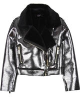 Imoga Shiny Coated Faux Shearling Jacket Esmae
