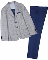 Isaac Mizrahi Boys' Three-Piece Plaid Suit in Grey with Solid Pants