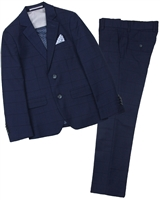 Isaac Mizrahi Boys' Two-Piece Wool Blend Check Suit