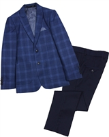 Isaac Mizrahi Boys' 2-piece Suit in Dark Blue Plaid and Navy