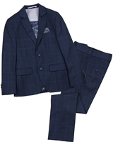 Isaac Mizrahi Boys' 3-piece Suit in Dark Blue Plaid