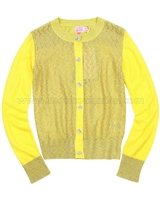 Kidz Art Ajour Knit Cardigan and Top Twin Set Orange
