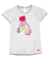 Kidz Art T-shirt with Zebra in Gray