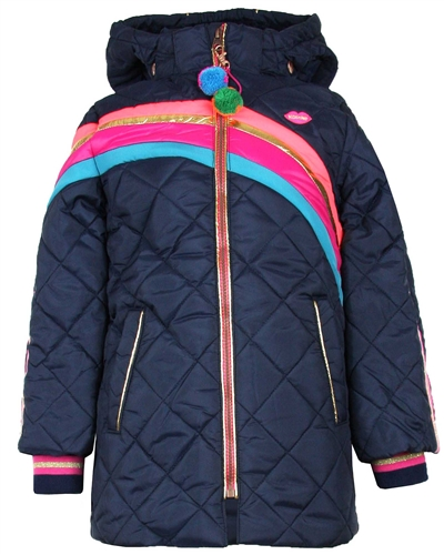 Kidz Art Quilted Jacket with Stripes in Navy