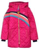 Kidz Art Quilted Jacket with Stripes in Fuchsia