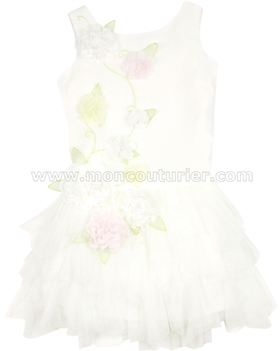 Biscotti Girls Wedding Belles Dress with Tiered Tulle Bottom