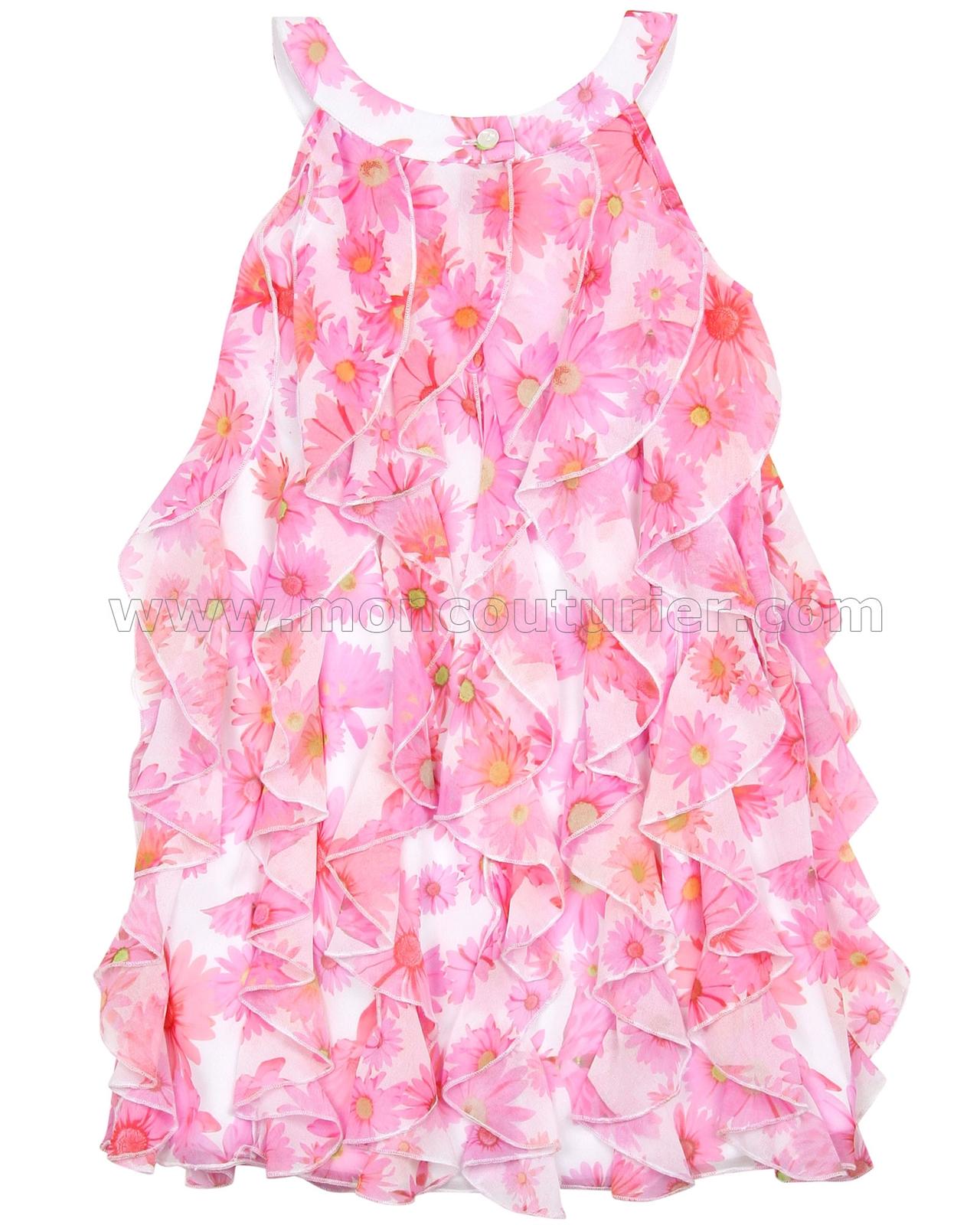 40a4941ae55f Kate Mack Girls Dottie Daisy Ruffled Dress