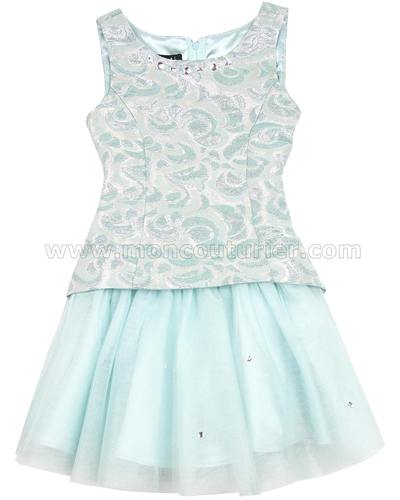 Biscotti Charmed Life Aqua Dress with Tulle Bottom