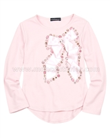 Kate Mack Moonlight Swan Pink Top with Bow
