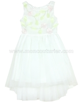Biscotti Girls Ivory High-low Dress Floral Blossoms