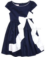 Biscotti Girls Dress with Bow Rose Reflection