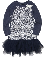 Biscotti Little Delovely Dress with Tulle Bottom Navy
