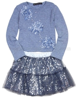 Biscotti Graceful Glam Sweater and Skirt Set Blue