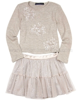 Biscotti Graceful Glam Sweater and Skirt Set Taupe