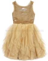 Biscotti Grand Entrance Party Dress with Tulle Skirt Gold