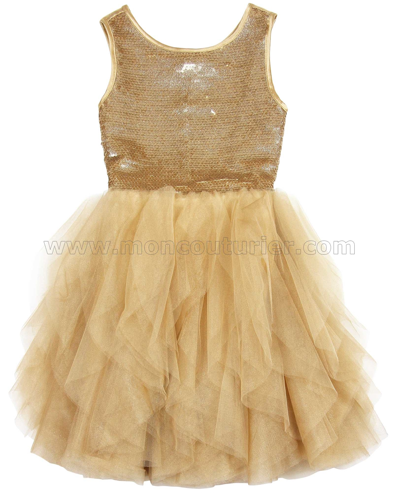 7ac5a13c3 Biscotti Grand Entrance Party Dress with Tulle Skirt Gold