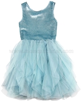 Biscotti Grand Entrance Party Dress with Tulle Skirt Blue