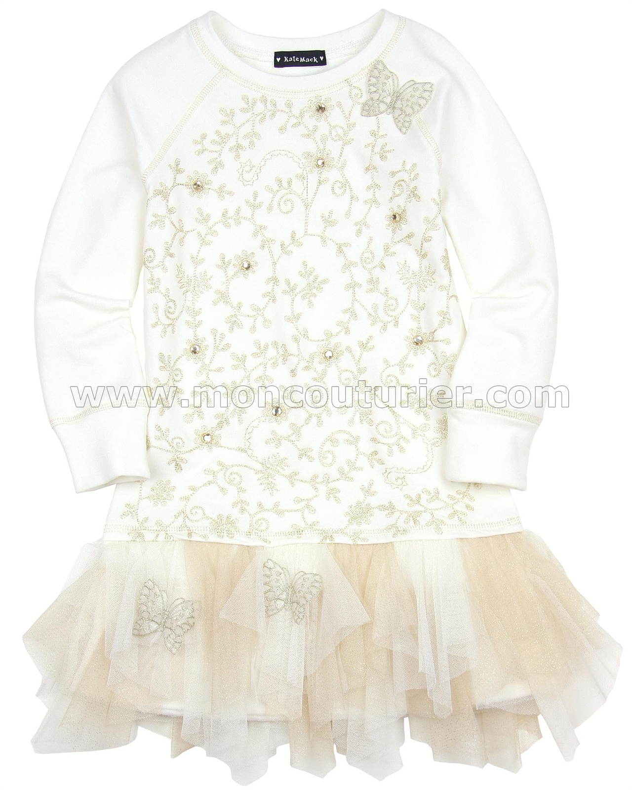 ee47efa36d3 Kate Mack Spun Gold Dress with Netting Cream