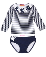 Kate Mack Little Girls' Rash Guard and Bottom Daisy Crew