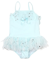 Kate Mack Girls' Skirted Swim Tank Fairy Dance Blue