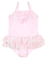 Kate Mack Girls' Skirted Swim Tank Fairy Dance Pink