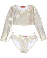 Kate Mack Girls' Rash Guard and Bottom Good as Gold