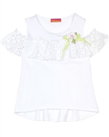 Kate Mack Girls' Top with Shoulder Valance Picnic Roses