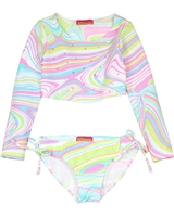 Kate Mack Girls' Rash Guard and Bottom True Colours
