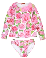 Kate Mack Girls' Rash Guard and Bottom Rose Parfeit