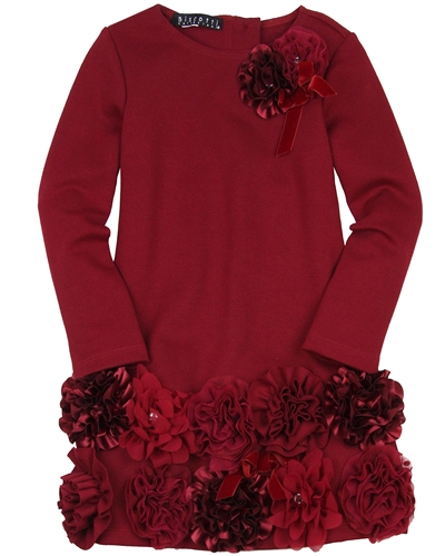 Biscotti Ruffles and Roses Flower Hem Dress in Burgundy