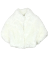 Biscotti Modern Fake Fur Shrug in Ivory
