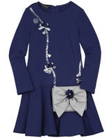 Kate Mack Holiday Magic Dress with Purse in Navy