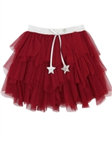 Kate Mack Holiday Magic Tiered Tulle Skirt in Red