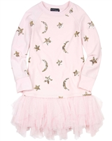 Kate Mack Moon and Stars Dress with Netting Bottom in Pink
