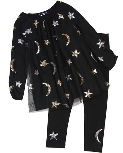 470b31bf7a0d2 Kate Mack Moon and Stars Tunic and Leggings Set in Black | Biscotti ...