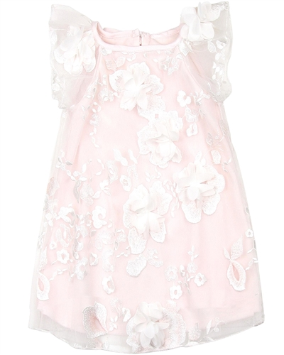 Biscotti Girls Blooming Romance Tulle Dress in Pink