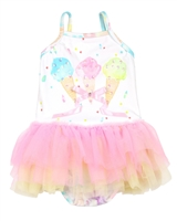 Kate Mack Girls Ice Cream Social Swimsuit with Tulle Frills
