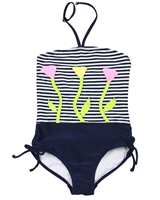 Kate Mack Girls Bathing Beauty Swimsuit with Flower Applique
