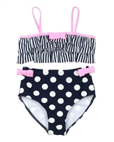 Kate Mack Girls Bathing Beauty Stripe and Polka Dot Bikini