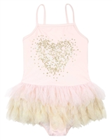 Kate Mack Girls Shimmering Beauty Swimsuit with Sequin Heart