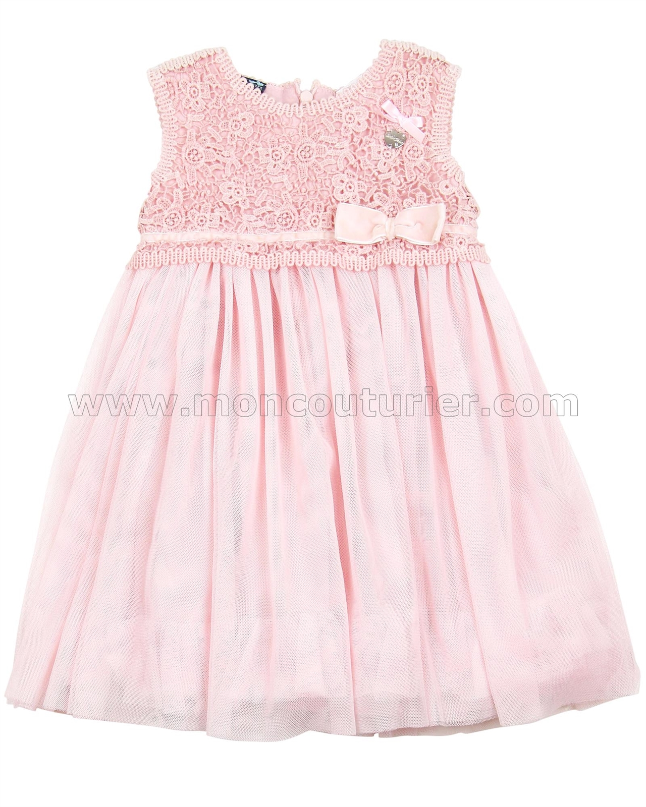 Le Chic Baby Girl Tulle Dress with Guipure Top Pink Le Chic Le