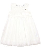 Le Chic Baby Girl Tulle Dress with Guipure Top Ivory