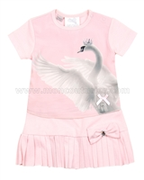 Le Chic Baby Girl Dress with Swan Print Pink